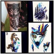 Fashion Sexy Water Color Roar Wolf Temporary Tattoo Stickers Women Men Body Art Large ARm Waterproof Tattoo 21x15CM Horse Tatoo