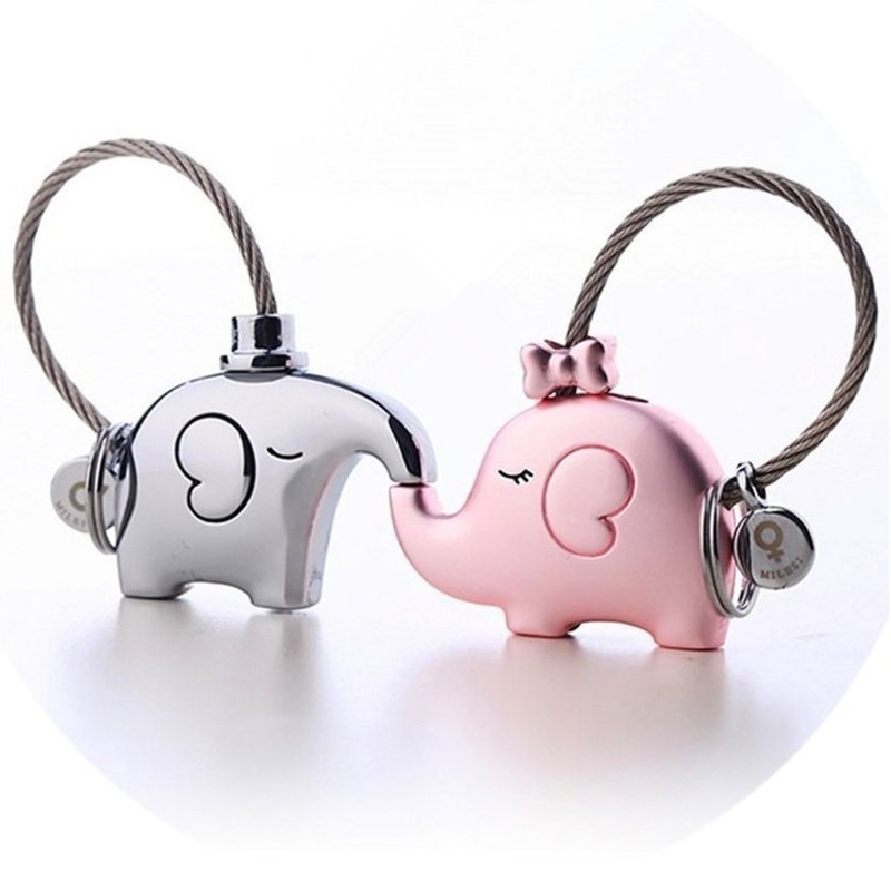 Milesi One Pair Of Elephant Couples Keychain Lovers Key Ring Women's Bag Charm Gift Trinket Pendant For Car Key Chain K0180