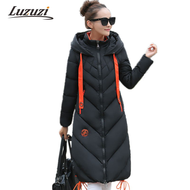 Women Winter Jacket and Coat 2017 Female Under knee Cotton Padded Hooded Long Parkas Ladies Jackets and Coats Outwear Top WS739