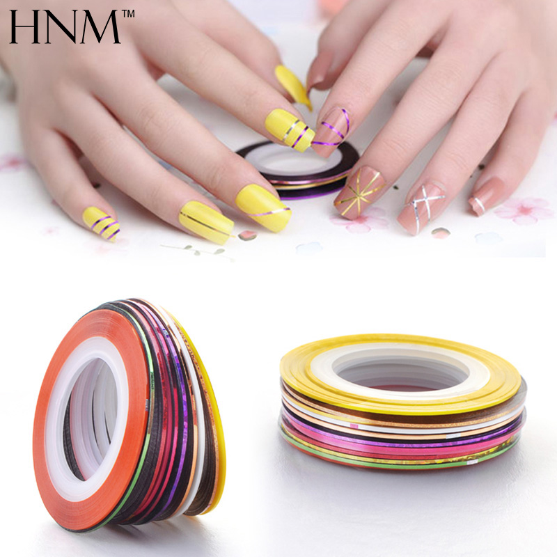 HNM 10Pcs Mixed Colors Nail Rolls Striping Tape Line DIY Nail Art Decorations Sticker for Gel Nail Polish Gellak Nail Stickers 10pcs pack 2mm mix colors rolls metallic adhesive striping tape wide line diy nail art tips strip sticker decal decoration kit