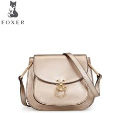 FOXER2016 new luxury fashion Superior Cowhide Leather Messenger Bag brand-name products 100% high-quality women well-known