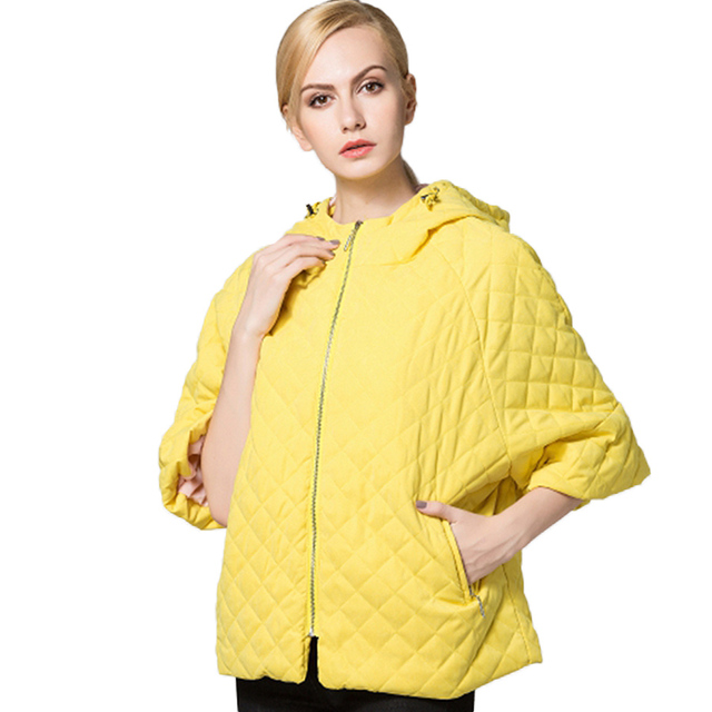 Winter Style Candy Color Jacket Warm Short Paragraph Bat Sleeve Hooded Cotton Jacket Women Fashion Casual Cotton Warm Jacket