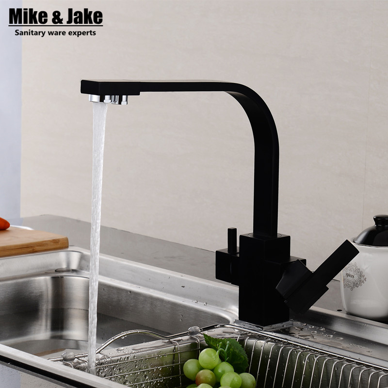 Dual function 3 way water filter square kitchen faucet marble pure water kitchen faucet 3 way