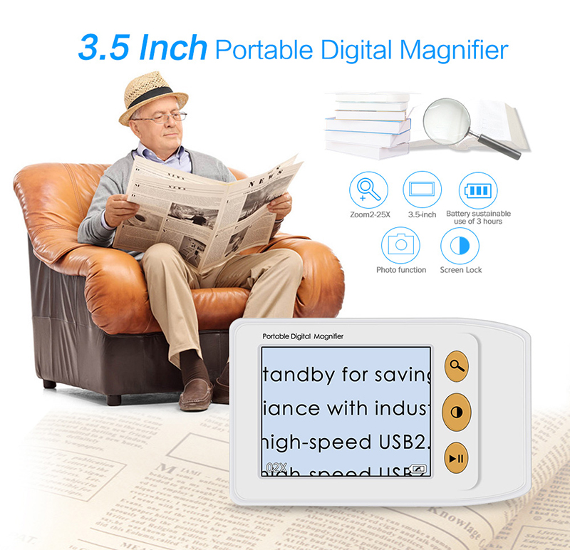 BOBLOV 3.5 inch 2-25X Handheld Portable Video Digital Magnifier Electronic Reading Aid with Multiple Color Modes for Low Vision new 1 8x 5x 10led illuminated plug in two purposes handheld desktop magnifier with light for reading working