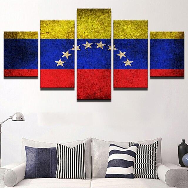 Hd Print Printing Canvas Modern Frame 5 Panel Venezuela Flag Wall Art Pictures Vintage Home Decoration
