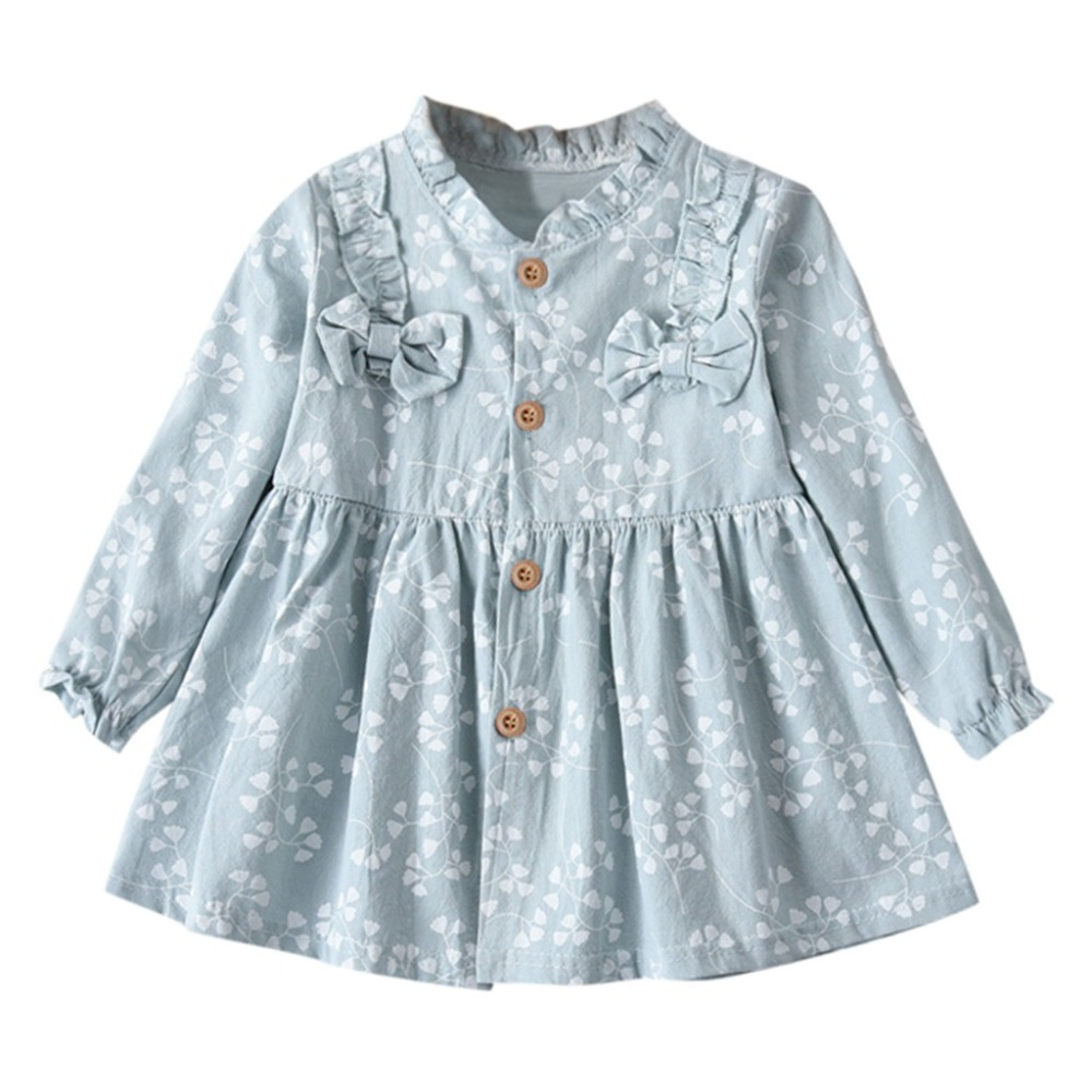 TELOTUNY Kids Dress Cotton Blend Children Toddler Baby Kids Girls Long Sleeve Fashion Dressed Flower Bow Solid Clothes JAN22
