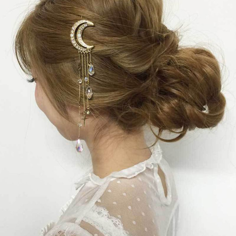 Women Retro Moon Glitter Rhinestone Hair Clip Faux Crystal Tassels Beads Charms Dangle Hairpin Bridal Jewelry Ponytail Barrettes