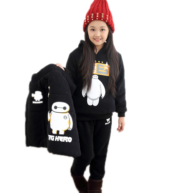 2017 New Winter Boys Clothes Casual Long Sleeve Cartoon Printed Hooded Fleece +Vest +Pants Boys Girls Clothing sets 3Pcs set 2015 new autumn winter warm boys girls suit children s sets baby boys hooded clothing set girl kids sets sweatshirts and pant