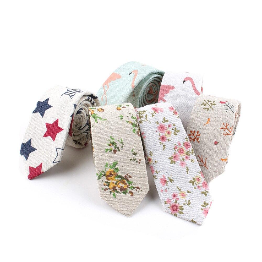 New Fashion Linen Ties For Men Skinny 6cm Necktie Qstrich Flower Stars Leaves Prints Wedding Party Casual Corbatas Gravata Gift