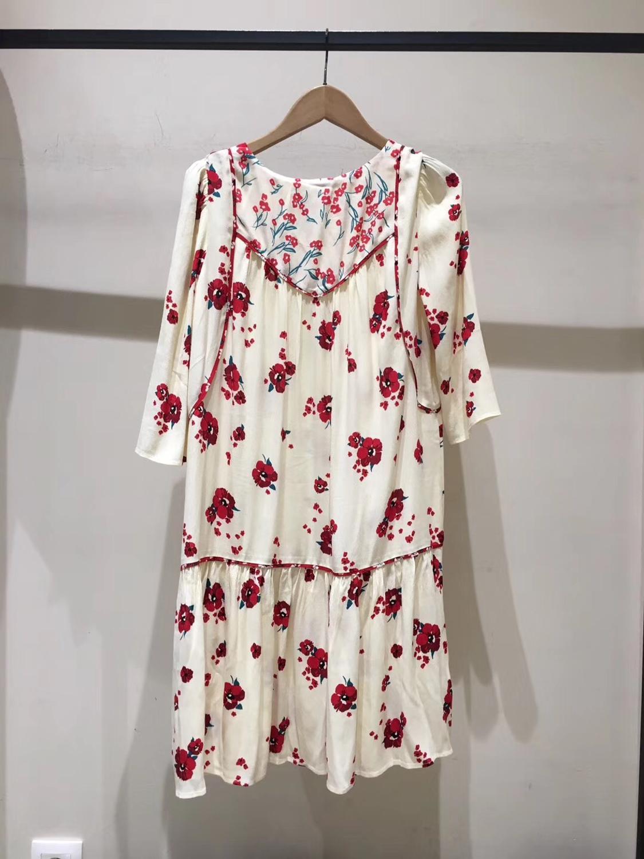 Frauen Halb Hülse Lose Mini Kleid Rote Blume Druck V ausschnitt Hohe Taille Sommer Kleid-in Kleider aus Damenbekleidung bei  Gruppe 2