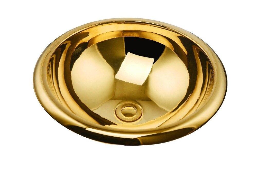 Envío Gratis lavabo moda, ti-pvd oro Cooper lavabo, fregadero de cobre hecho a mano, fregadero del recipiente de cobre, latón lavabo encimera