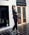 2016 Fan Coreano Moda Primavera Lazer durante Todo o jogo de Duas Peças Calças Finas tendências Temperamento pure color preto elegante fêmea Terno