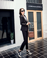 2016 Fan de La Moda de Primavera de Corea Pantalones de Ocio Durante Todo el partido de Dos Piezas Delgado Temperamento puro color negro elegante femenina tendencias Traje