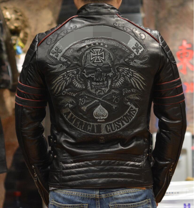 NEW ! 2017 men geniune Leather jacket Slim collar Metrosexual leather Motorcycle Jacket skull embroidery short tide coat free sh
