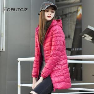 Image 2 - EORUTCIZ Winter Long Down Coat Women Plus Size 7XL Ultra Light Warm Hoodie Jacket Vintage Black Autumn Duck Down Coat LM171