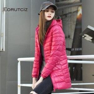 Image 2 - Eoretciz 겨울 긴 코트 여성 플러스 크기 7xl 울트라 라이트 따뜻한 까마귀 자 켓 빈티지 블랙 가을 오리 코트 lm171