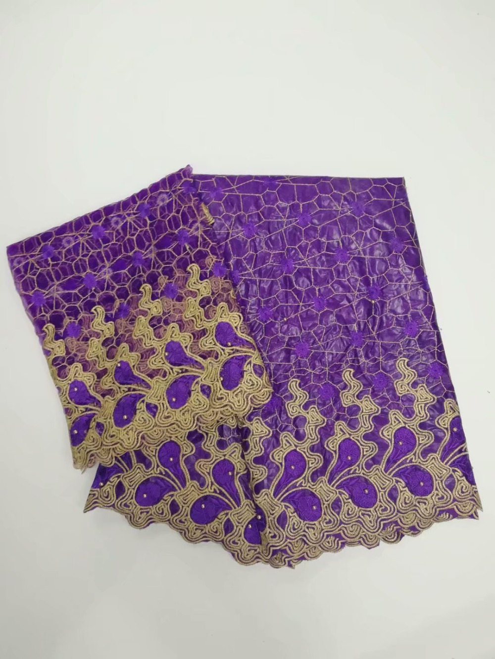 Purple African Lace Fabric Guinea Bazin Riche Fabric Set With 2 Yard French Net Lace For Blouse 2018 Latest Bazin Riche Getzner