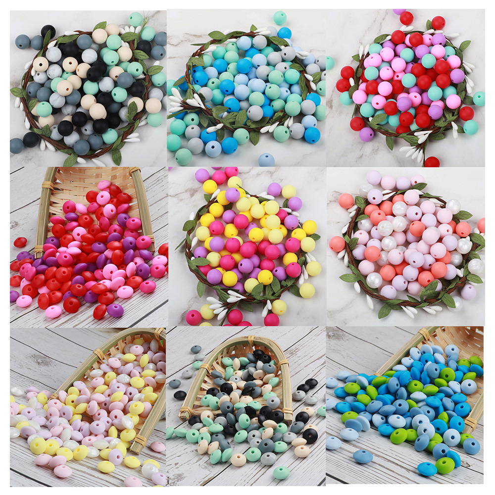 Silicone Teething Beads Pearl Baby Teethers Handmade Teething Necklace Nursing Toys Baby Gift 50pc/set
