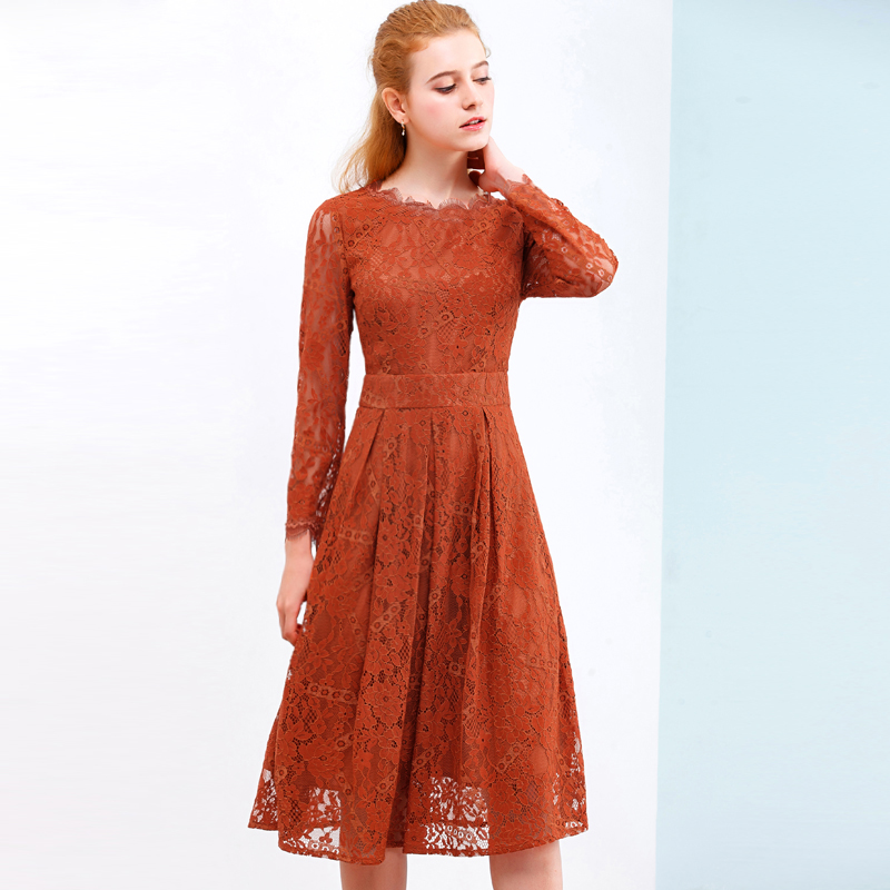 ONLY PLUS Hollow Out Lace Dress Women Party Dresses Elegant A line Long Sleeve Orange Sweet O Neck Female Spring Autumn Vestidos in Dresses from Women 39 s Clothing