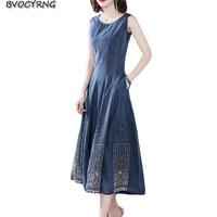 2019 spring summer new denim dresses women fashion slim long party dress embroidery high end jeans dress female Leisure dress