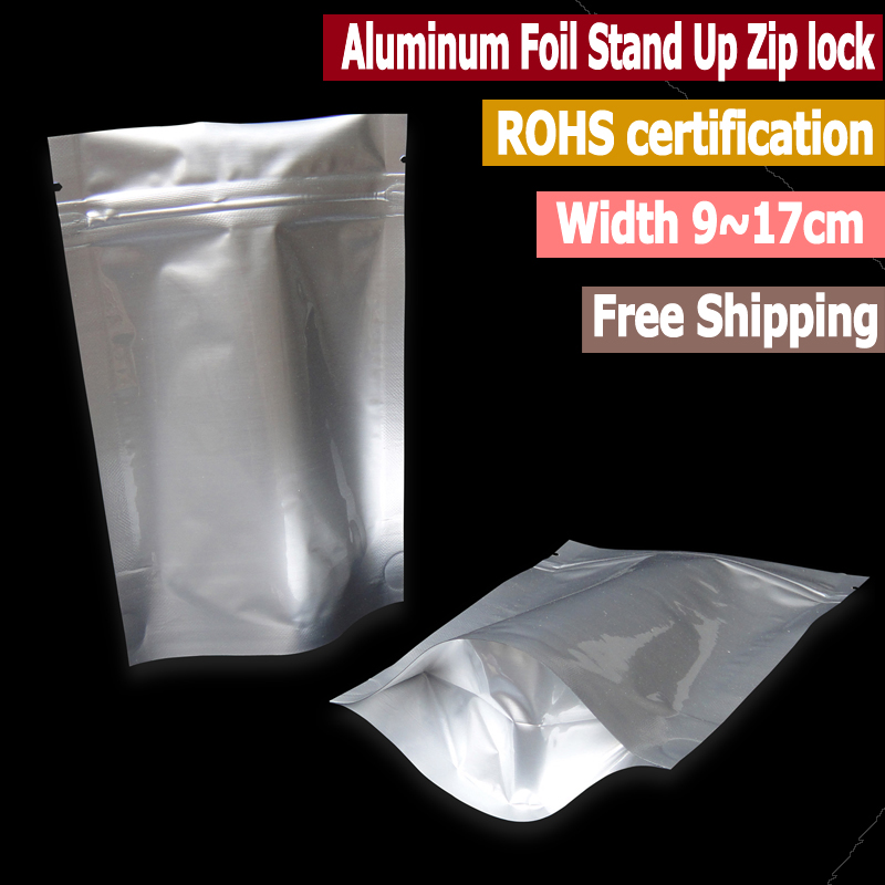 100 Pcs Small Size Mylar Aluminum Foil Stand Up Zip Lock Bags Food Storage Oxygen Barrier Bags Width From 9cm To 16 Cm