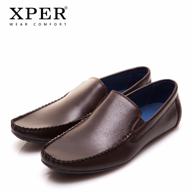 XPER חדש לגמרי אופנה גברים דירות נעלי יד לנשימה להחליק על מוקסינים גברים חום נעלי גדול גודל CE86813BU