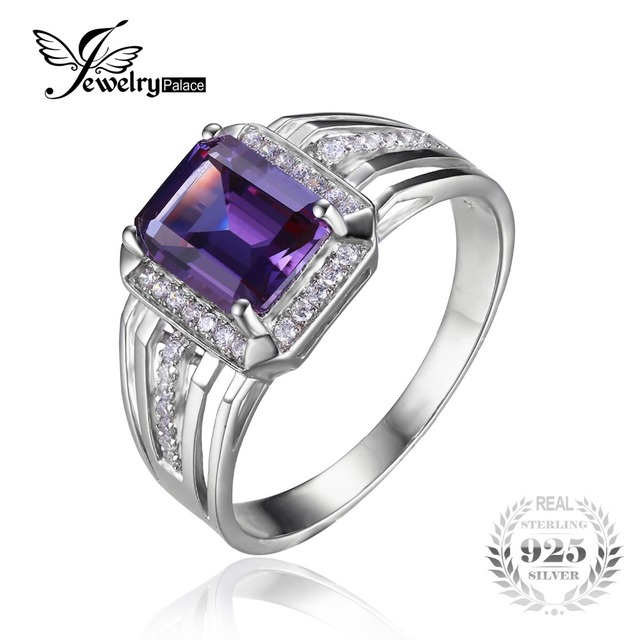 JewelryPalace Russian Design Alexandrite Sapphire Engagement Wedding Ring For Men Genuine 925 Sterling Sliver  Men's Jewelry