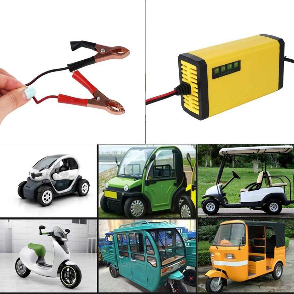 Mini taşınabilir 12V 2A araba pil şarj cihazı adaptörü güç kaynağı motosiklet otomatik akıllı pil şarj cihazı LED ekran