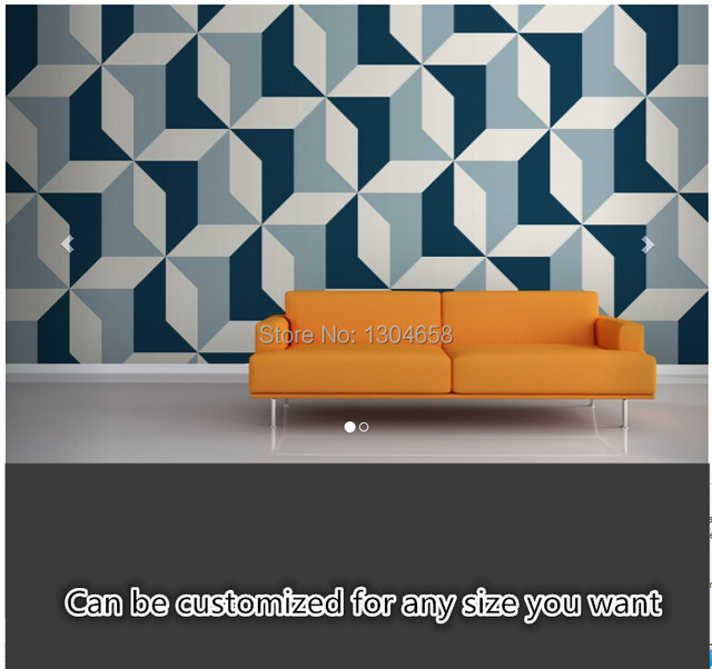 Free Shipping Custom Large Murals Sitting Room Bedroom Sofa Kitchen Background Wallpaper Abstract Blue Geometric