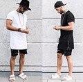 Летние мужчины расширенный золотой молнии побочные мужчины футболки хлопок сплошной мужская топы хип-хоп белый черный тис плюс размер M/L/XL/XXL
