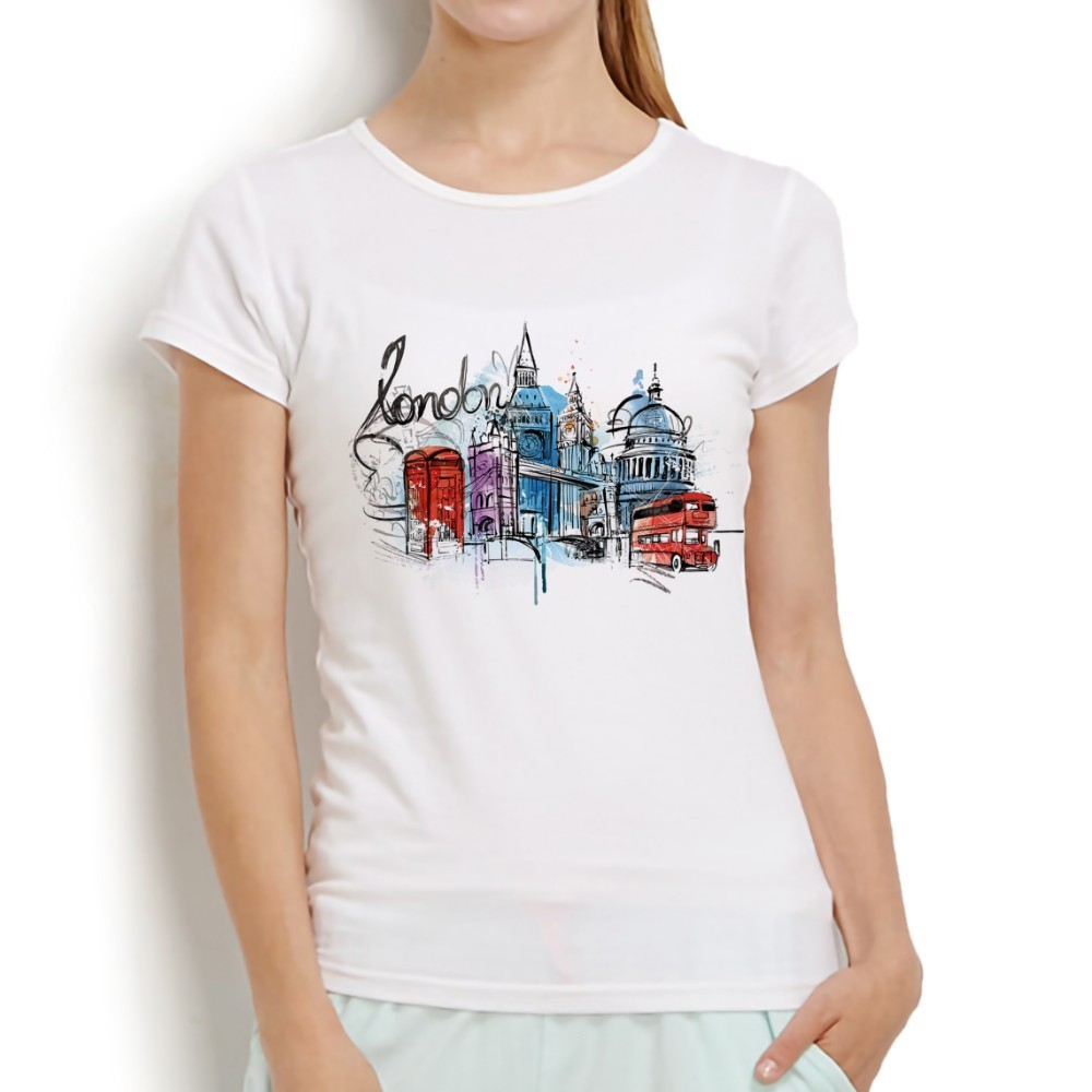 London city The National Gallery watercolor drawing no glue print t shirt femme new white short sleeve casual women tshirt
