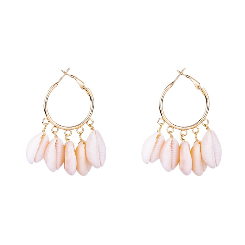 1pair Fashion Women Korean Bohemian Boho Indian Kpop Big Round Statement Clip On Hoop Shell Earrings in Hoop Earrings from Jewelry Accessories