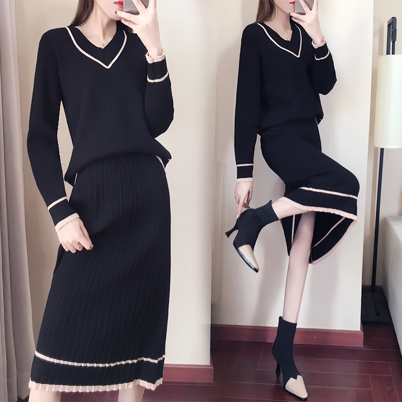 Autumn Winter Knitted Two Piece Sets Outfits Women V-neck Sweater And Skirt Suits Tracksuits Elegant Casual Fashion 2 Piece Sets 54
