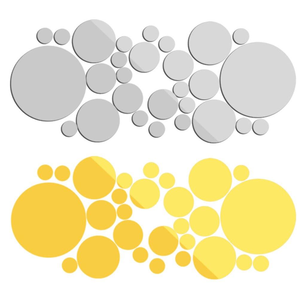 ᗕ2 Colors 1 Set /28 Pcs 3D DIY Big Circles Mirror Removable Decal ...