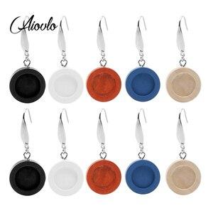10pcs/lot Wood Cabochon Earring Base Fit 12mm Blank Bezel Settings Diy 316 Stainless Steel Ear Wire Hooks Jewelry Findings