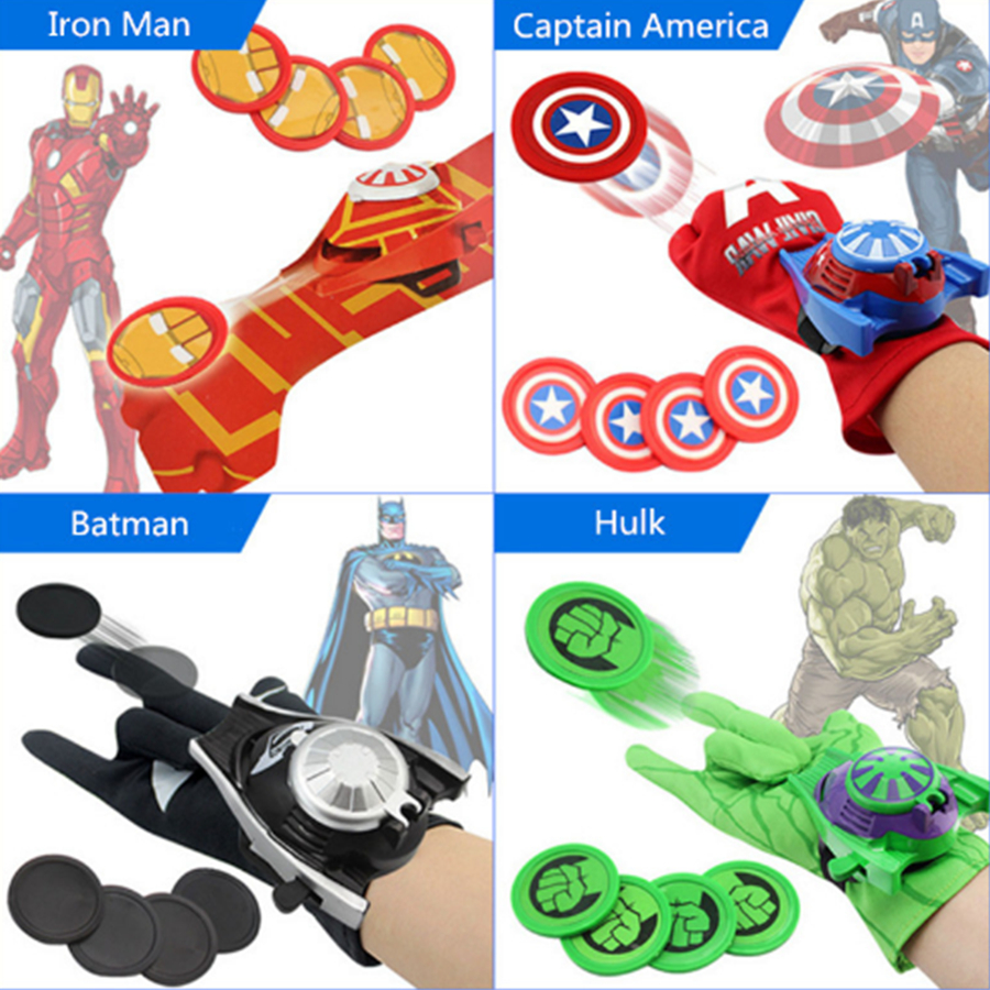 Spiderman Launcher Gloves Cosplay Costume Props Superhero Batman Iron Man Gloves Halloween Child Birthday Gift