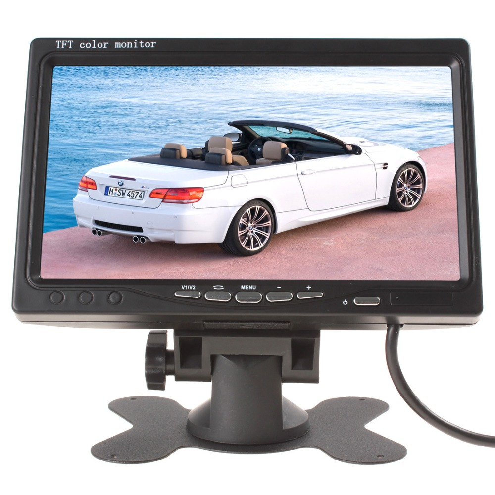 7 polegada desktop monitor LCD encosto de cabeça do monitor 2ch entrada de vídeo DC 12 V voltar