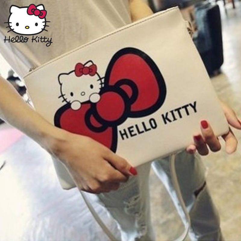 Hello Kitty Envelope Hand Bag 2019 New Women Leather Handbags With Zipper Small Messenger Kids Bag Plush Backpack Girl Stuff