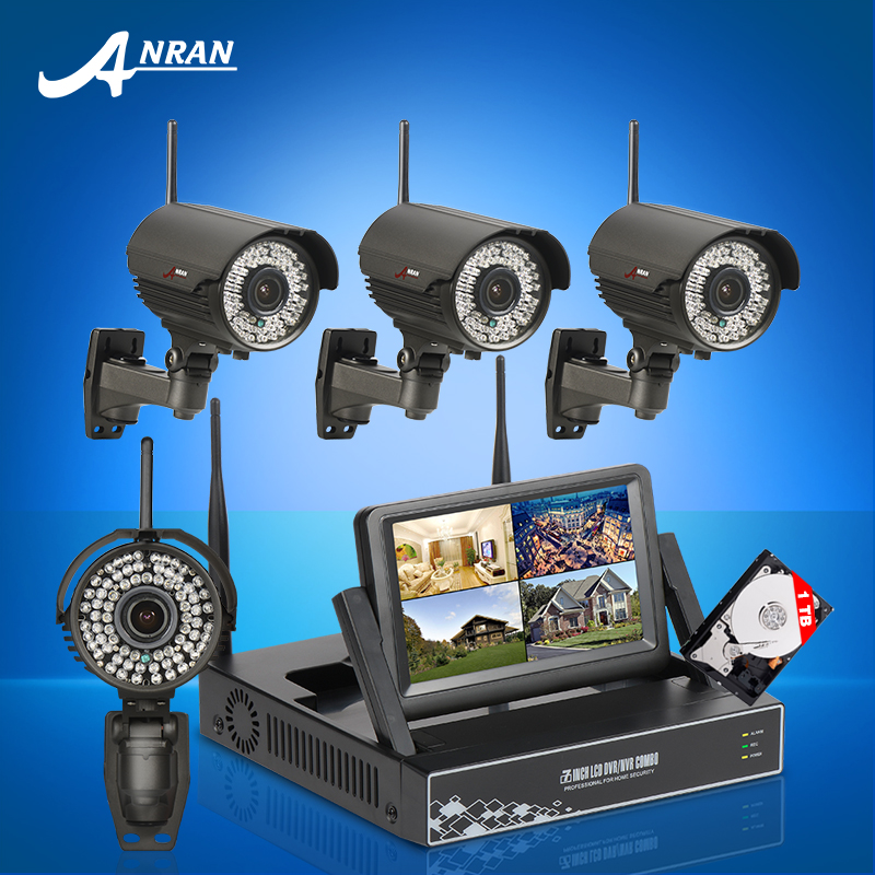 Plug and Play 4CH Wireless NVR CCTV System 720P HD Manually Varifocal 2.8mm-12mm 78IR Outdoor WIFI Surveillance Cameras 1TB HDD