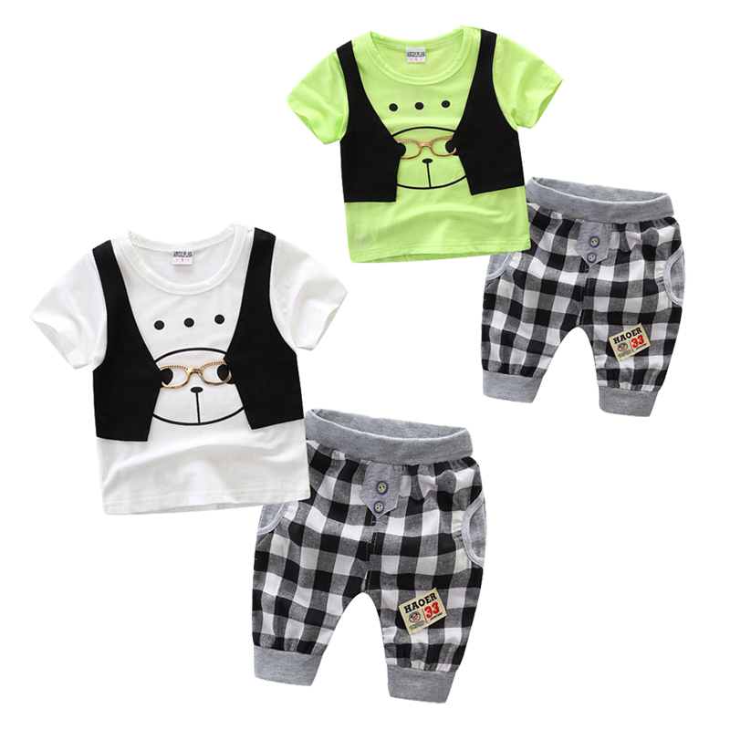 2018 Summer Baby Boy Clothes Kids Clothing Set Fashion Cotton Short-sleeved Glasses T-shirt+pants 1-2-3 Baby Boys Clothing Set