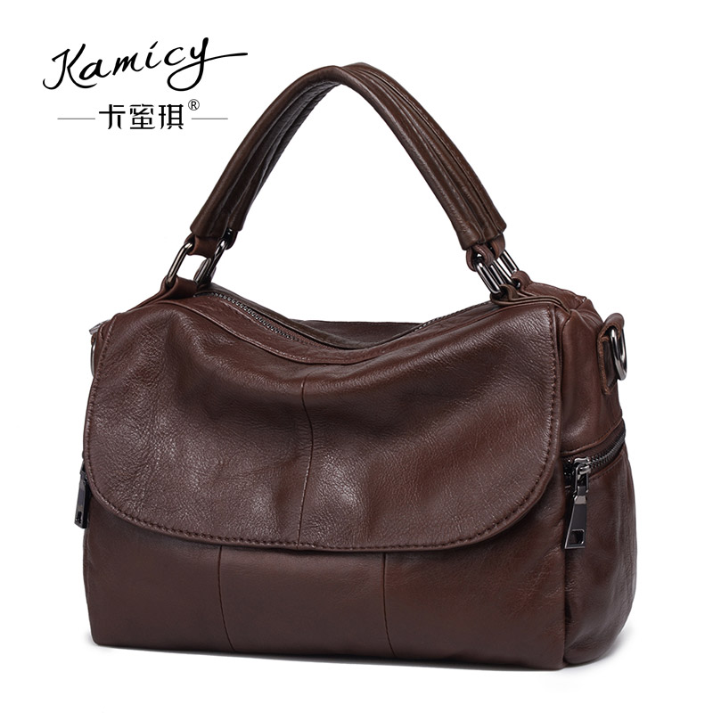 b014276523f0 Kamicy brands Women bags 2018 summer new lady handbags leather large single shoulder  bag accept pure color female bag