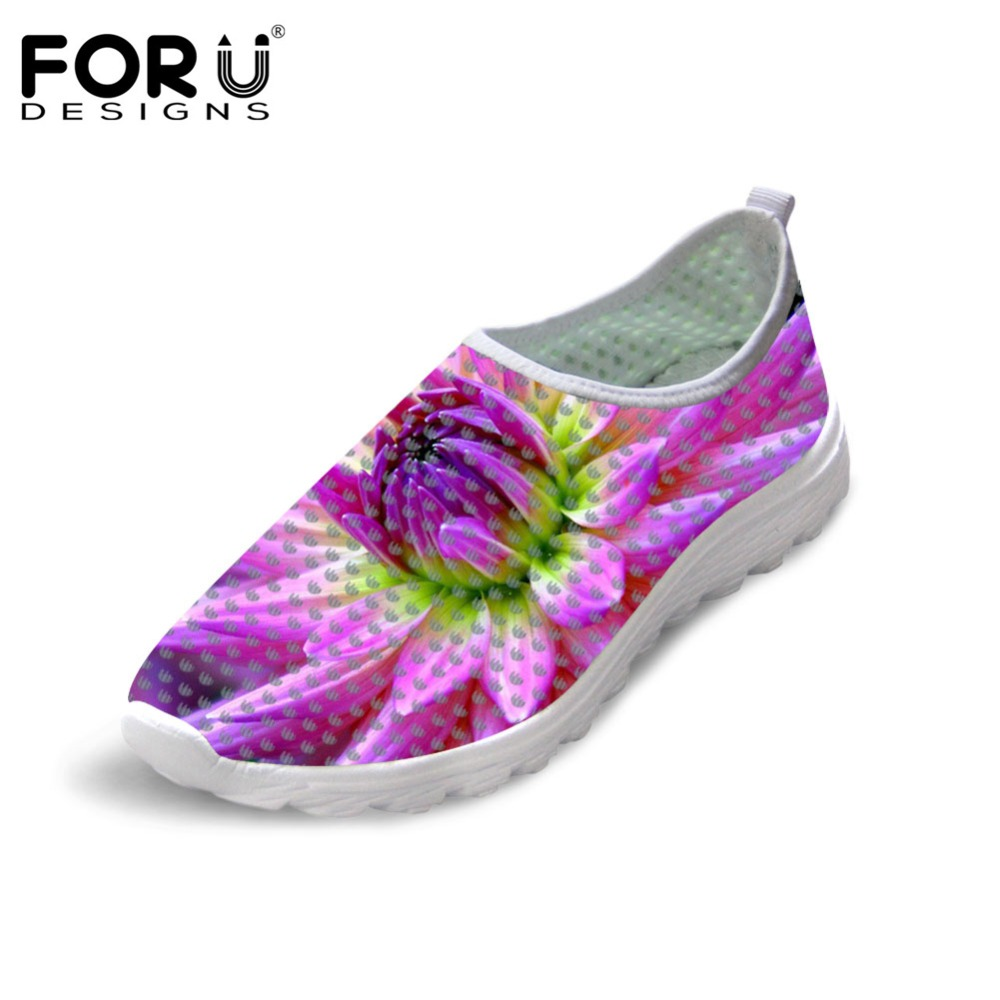 FORUDESIGNS Summer Women Mesh Shoes Flats 3D Flower Printing Breathable Casual Shoes for Ladies Female Light Weight Beach Shoes free shipping candy color women garden shoes breathable women beach shoes hsa21