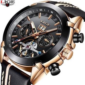 27742208a LIGE Os Homens Assistir Top Marca de luxo Relógio Mecânico Automático dos  homens Moda masculina Esportes Relógio de Pulso Relogio À Prova de Choque À  Prova ...