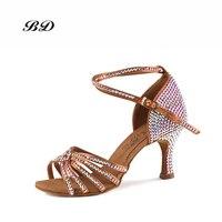 Sneakers Dance Shoes Ballroom Women Latin Shoes High grade Diamond Cowhide Anti slip Sole Custom Made Comfortable Satin BD 217
