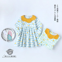 Ins Baby Children S Wear Girls Long Sleeved Dress Made Of Pure Cotton Wavy Lines Lotus