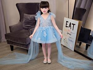 Angel blue wedding dress girl sexy dress Floral butterfly dress girl summer Casual chiffon Sleeveless vest princess clothes(China)