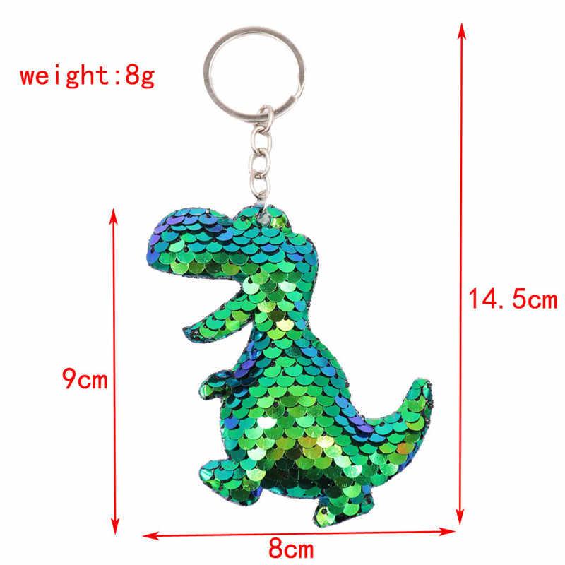 Sitaicery милый блестящий брелок для ключей динозавры модная металлическая Русалка Блестки брелки для ключей с животными для женщин сумка для автомобиля кулон ювелирные изделия
