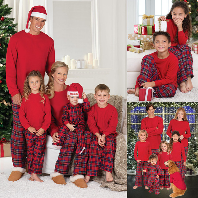 89847973d4 2017 Xmas Family Matching Christmas Pajamas Set Mom Dad Baby Kids Plaid  Sleepwear Nightwear Family Home Clothes For Sale Cheap