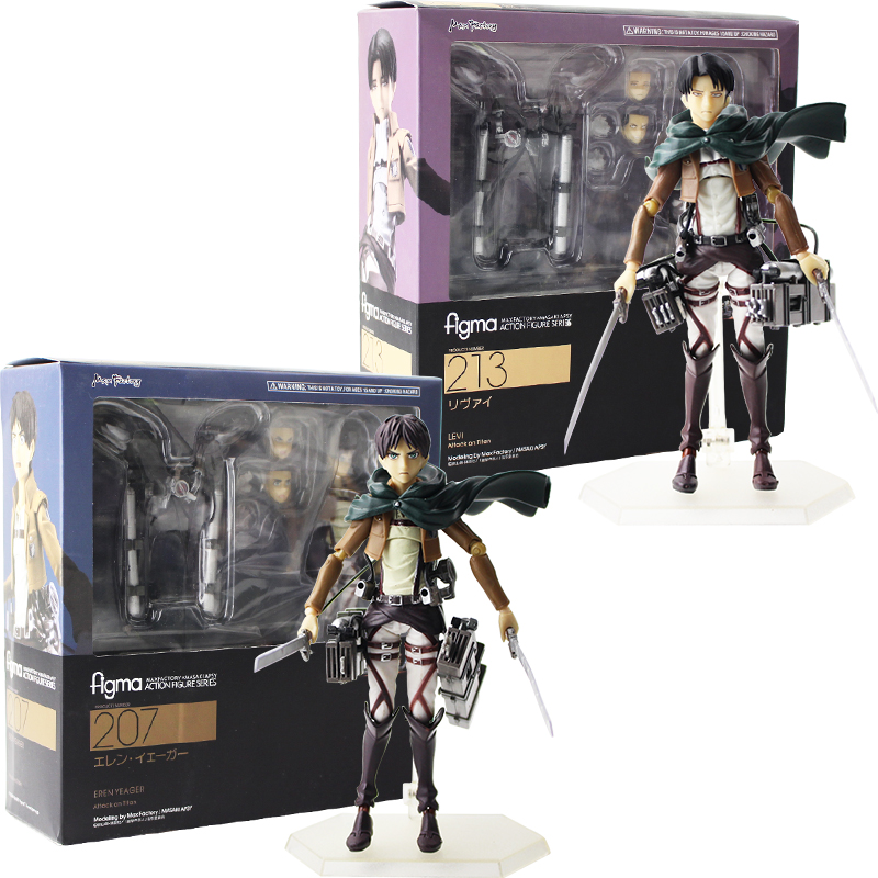 New Hot Toy 14cm Anime Attack on Titan Figma 207 Eren Yeager 213 Levi Statue PVC Action Figure Collection Dolls Model Toys GiftNew Hot Toy 14cm Anime Attack on Titan Figma 207 Eren Yeager 213 Levi Statue PVC Action Figure Collection Dolls Model Toys Gift