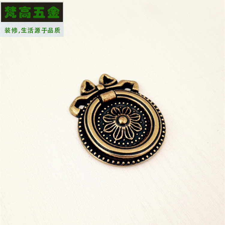Antique Ring Carved Cabinet Drawer Rings Handle and Knob Door Pens and Pulls Pastoral Style Furniture for Wardrobe Cabinet european modern bronze doors handle chinese antique glass door handle door handle carving